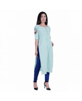 Pista green cotton slub kurti