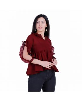 Red wine cotton slub top