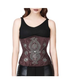 The EMBALISHED UNDERBUST WAISTREDUCING STEAMPUNK BROWN CORSET