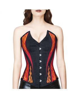 Red/black fire embroidered overbust corset