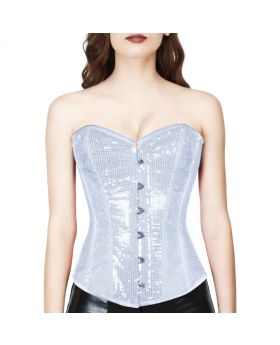 white sequence waist reducing overbust corset