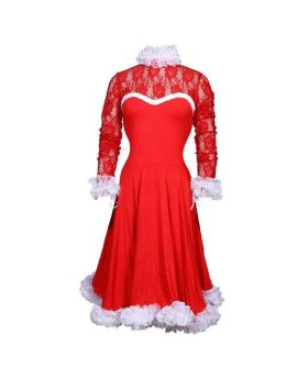 Ezio Red Flairy Ruffle Dress