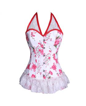 Autum Blossom AUTHENTIC STEEL BONED White/Red Waist Reducing Overbust Corset