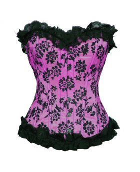 Holiday Floral Flocked Lili Fashion Black_Magenta Overbust Corset