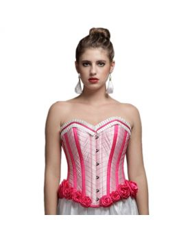 Authentic steel boned flower bottom pink corset