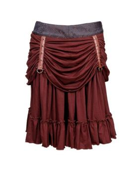 Roseanne Poly Brocade Mid Length Steampunk Skirt