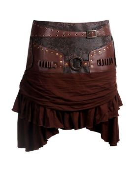 Brenna Steampunk Cotton Low Waist Skirt