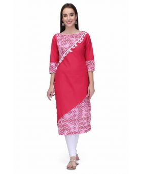 Stylum Women's pink White cotton Kurti