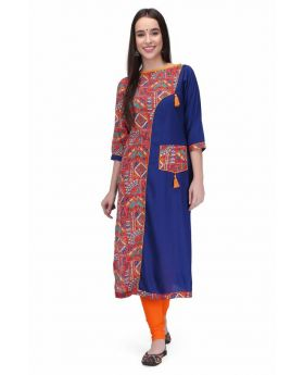 Viona Creation Women's Blue rayon Kurti