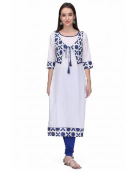 Supreb Choice Women's white Stitched Cotton Kurti