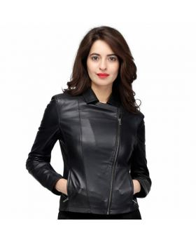 Evan Black Women's Sheep Napa Genuine Leather Jacket