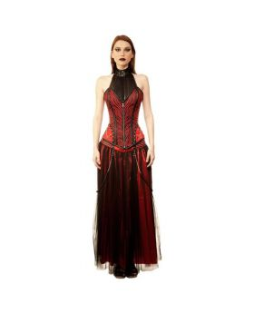 Rachel Gothic Authentic Steel Boned Long Lined Halter Modesty Overbust Corset Dress
