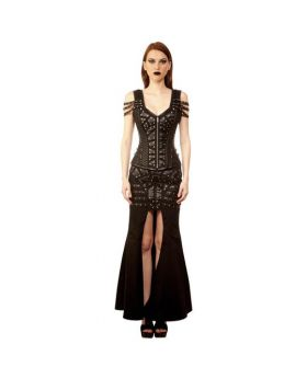 Lyaksandra Ladies Gothic Authentic Steel Boned Overbust Corset Dress