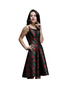 Kazia Ladies Floral V-Neck Gothic Dress