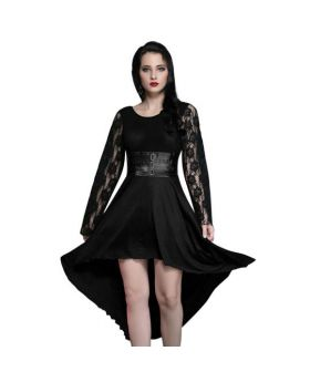 Jacquie Black Round Neck Gothic Dress