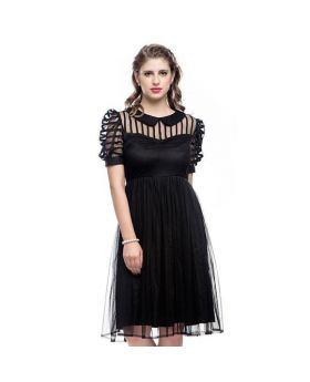 Elvira Black Sheer Dress