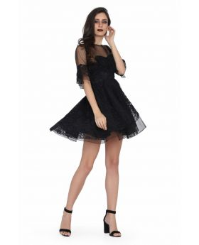Ladies black satin overlayed net gothic dress