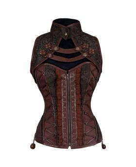 Coralee Steampunk Authentic Steel Boned Overbust Corset