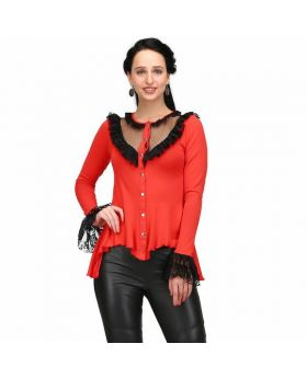 Bozsi Red Gothic Knit Shirt
