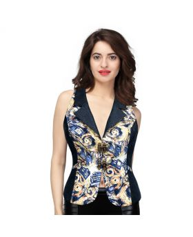 Verbena Abstract Print Waist Coat