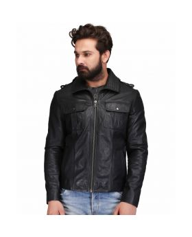 Man's Genuine Sheep Leather Casual Black Jacket