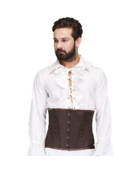 Tiamat Brown Steel Boned Waist Reducing Underbust Mens Corset