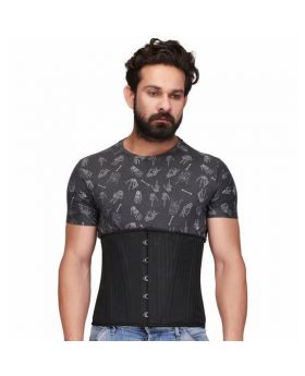 Black Brocade Steel Boned Waist Reducing Underbust Men's Corset