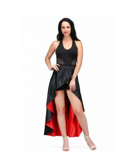long reversible and overlaped skirt in red and black fabric combined with the black fitted dress
