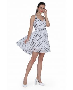 Ladies polka dot white georgette dress