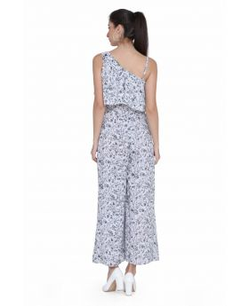 White printed georgette jumpsuit