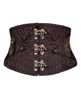 AUTHENTIC STEAM PUNK SILVER BLACK STEEL BONED BROCADE CORSET BELT