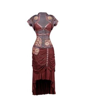 Rachel Steampunk Authentic Steel Boned Underbust Corset Dress