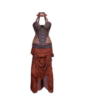 Rada Steampunk Authentic Steel Boned Overbust Corset Dress