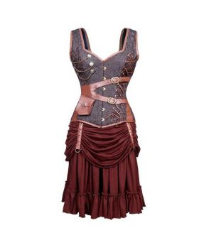 Naamah Steampunk Authentic Steel Boned Overbust Corset Dress