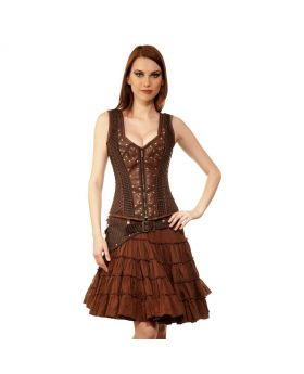 Krystiyan Steampunk Authentic Steel Boned Overbust Corset Dress