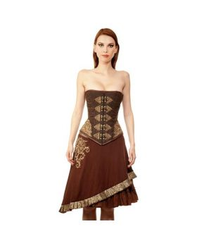 Heorhiy Steampunk Authentic Steel Boned Overbust Corset Dress