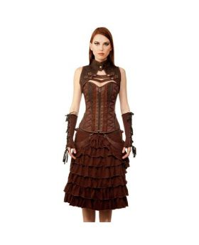 Taanach Steampunk Authentic Steel Boned Overbust Corset Dress