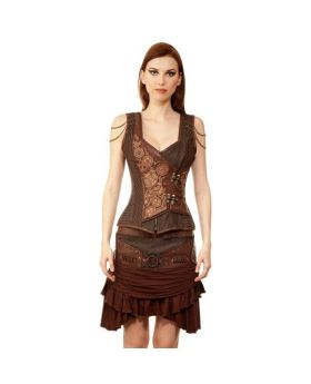 Bamard Couture Steampunk Authentic Steel Boned Overbust Corset Dress
