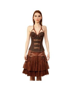 Taaveti Womens Steampunk Authentic Steel Boned Overbust Corset Dress
