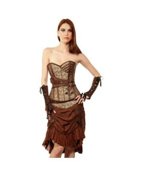 Tafadhdhal Womens Steampunk Authentic Steel Boned Overbust Corset Dress