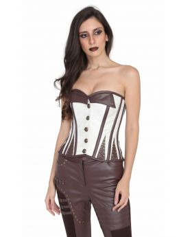 Authentic Steel boned steampunk PU overbust corset