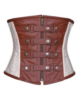 Kristal Steampunk Authentic Steel Boned Underbust Corset Coffee Black