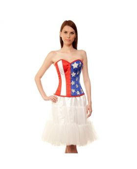 Wadanhyll Couture Authentic Steel Boned US Flag Overbust Corset Dress