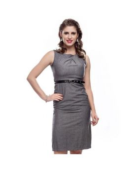 Carlyn Sheath Heather Grey Ladies One Piece Dress