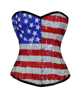 Vespera Couture Authentic Overbust US Flag Design Corset