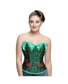 AUTHENTIC STEEL BONED BLACK/GREEN BROCADE OVER BUST CORSET