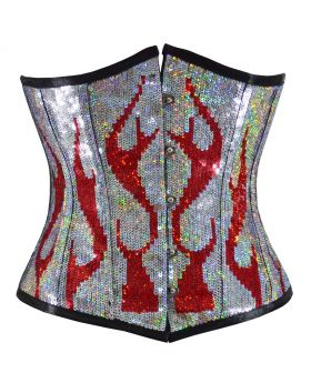 Burning Desire Red Silver Sequined Underbust Corset
