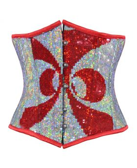 Abstract Red Silver Sequined Underbust Corset