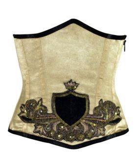 Beige Wanette Underbust Sequined Couture Corset