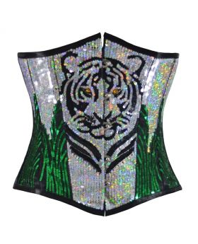 Tiger Sequined Silver Green Underbust Corset